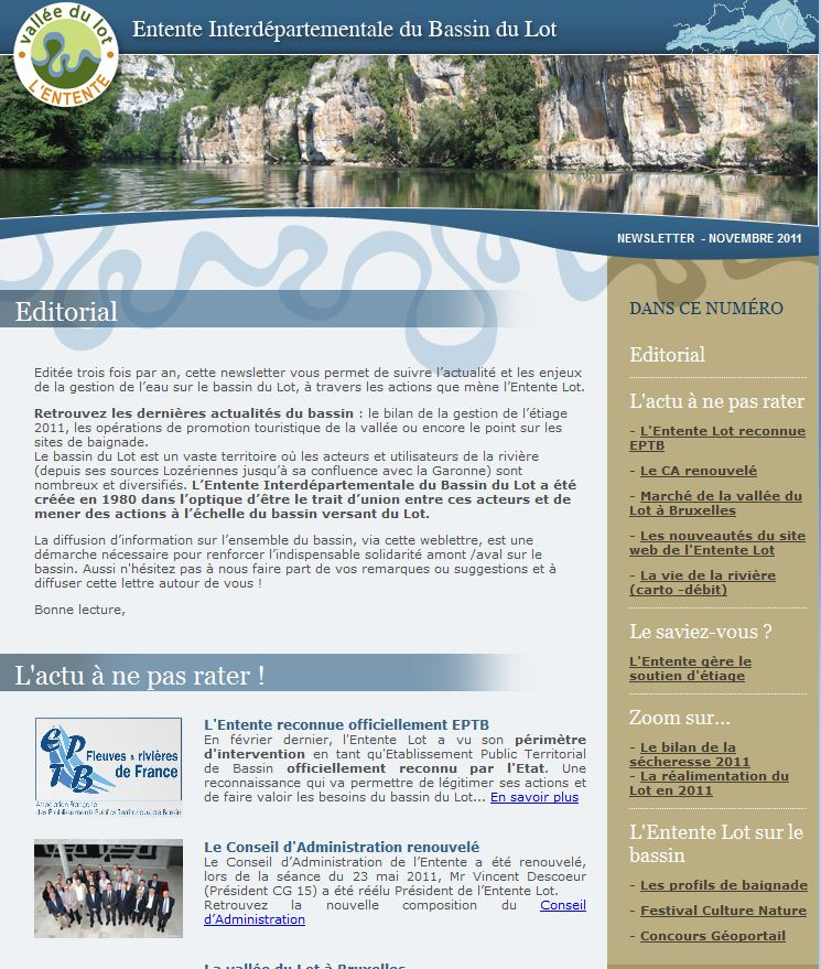 Newsletter de l'Entente Lot