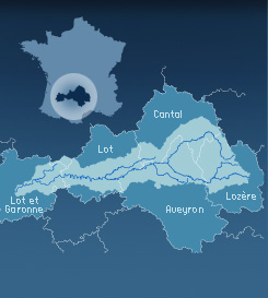 Carte de localisation de l'Entente Interdépartementale du Bassin du Lot